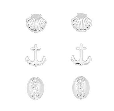 Trio brinco mar Banhado em Prata
