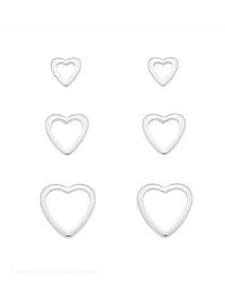 Trio brincos corações vazados Banhado em Prata