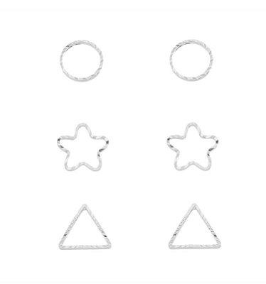 Trio brincos geométricos banhado em ouro 18k / prata / ródio branco  (10431)
