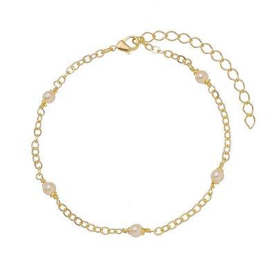 Pulseira de pérolas banhado em ouro 18k/prata/ródio branco