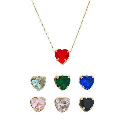 Colar Coração de Zircônia banhado em ouro 18k/prata/ródio branco