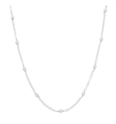 Colar pérolas 45 cm banhado em ouro 18k/prata/ródio branco