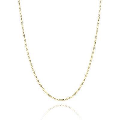 Corrente Groumet 60 cm fio 5 banhada em ouro 18k/prata/ródio branco