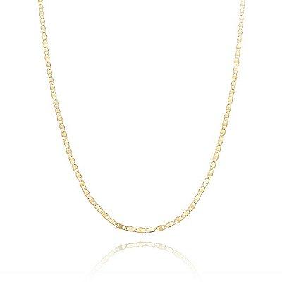 Corrente Piastrini 50 cm banhada em ouro 18k/prata/ródio branco