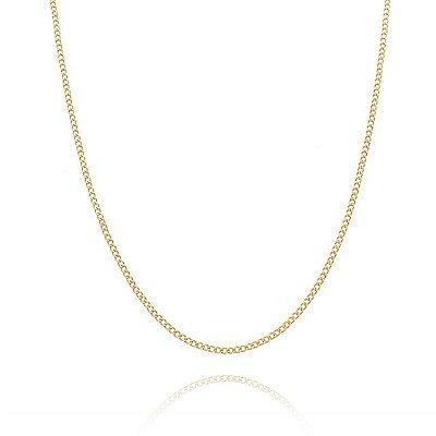 Corrente Groumet  60 cm fio 6 banhada em ouro 18k/prata/ródio branco