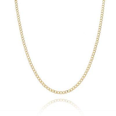 Corrente Groumet 50 cm fio 8 banhada em ouro 18k/prata/ródio branco