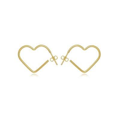 Brinco argola coração P banhado em ouro 18k/prata/ródio branco