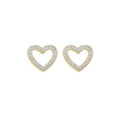 Brinco coração com aplique de ródio- banhado em ouro 18k/prata/ródio branco