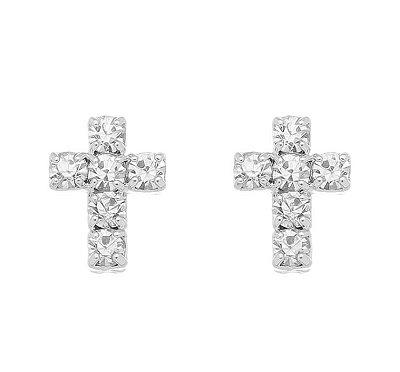 Brinco cruz pequena com pedras banhado em ouro 18k/prata/ródio branco
