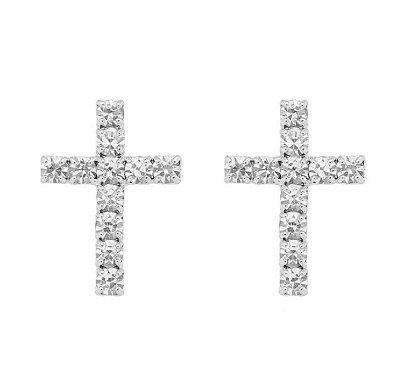 Brinco cruz média com pedras banhado em ouro 18k/prata/ródio branco