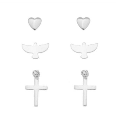 Trio brincos Espírito Santo banhado em ouro 18k/prata/ródio branco