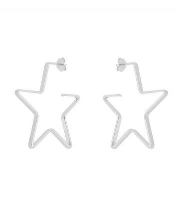 Brinco estrela maior banhado em ouro 18k prata ou ródio branco