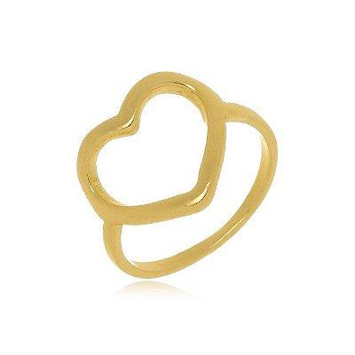 Anel Coração Banhado em Ouro 18k