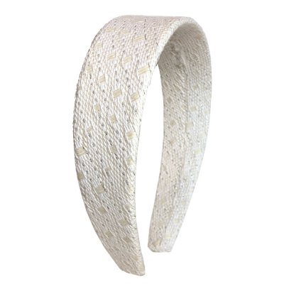Tiara Flat Tweed Branco Textura Dourada