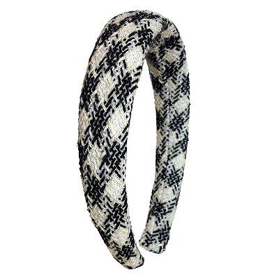 Tiara Espuma de lã Tweed Xadrez Preto e Branco