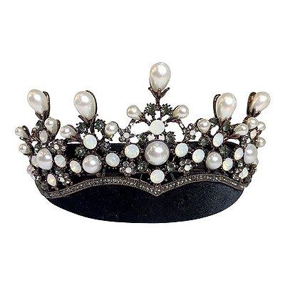 Tiara Veludo Preto com Coroa de Pérolas