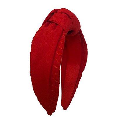 Turbante de Crepe Vermelho Bordado