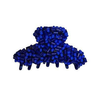 Presilha de Cabelo Azul Perolado Com Miçangas e Vidrilhos