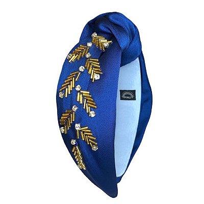 Turbante de Cetim Azul Royal com Bordado Dourado