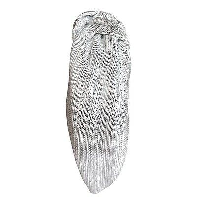 Turbante de Lurex Metalizado Prata