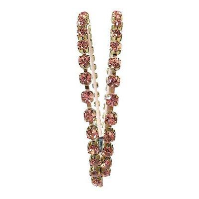 Tiara Metal Dourado Correntes Paralelas Rosa Claro