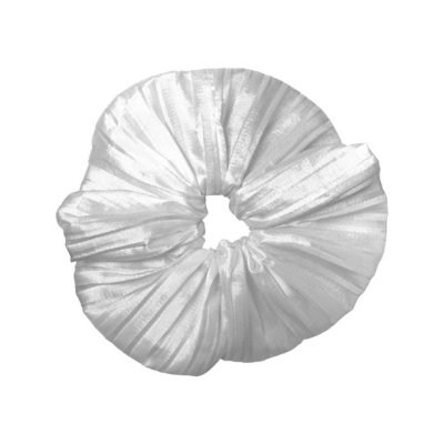 Elástico - Scrunchie Plissado Branco