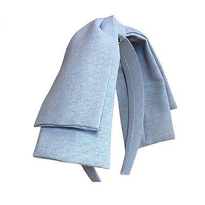 Tiara Maxi Laço Camadas Azul Perolado