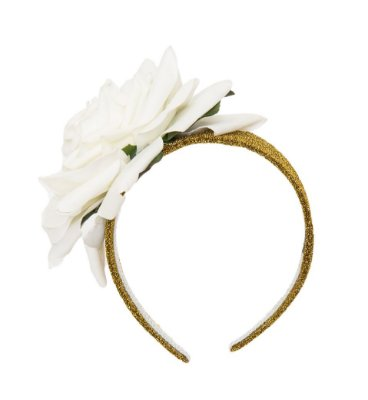 Tiara Maxi Flower Branca e Dourada