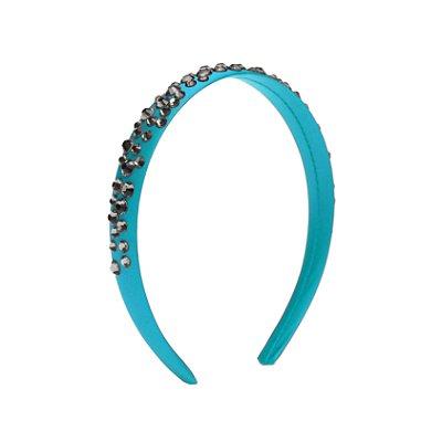 Tiara de Brilho Cetim Sparkle Azul Turquesa