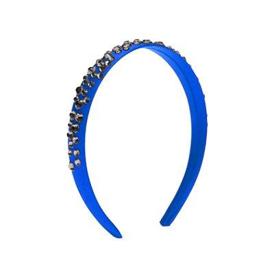 Tiara de Brilho Cetim Sparkle Azul Royal