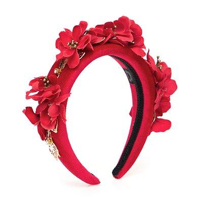 Tiara de Metal e Flores Vermelhas