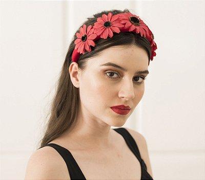 Tiara Maxi Flores Vermelhas
