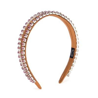 Tiara Cetim Double Chain Rosa