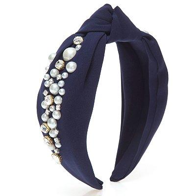 Turbante Azul Marinho com Mix de Pedrarias