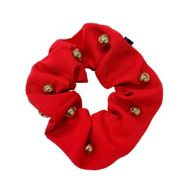 Elástico - Scrunchie de Cetim Vermelho com Bolinhas Douradas
