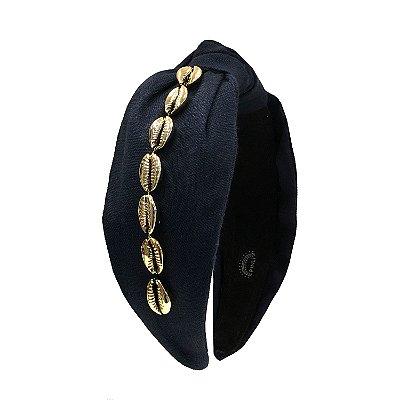 Turbante de Linho Azul Marinho com Búzios
