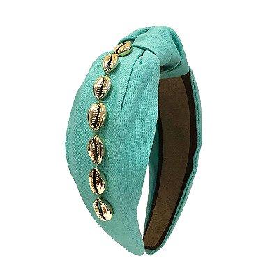 Turbante de Linho Azul Turquesa com Búzios