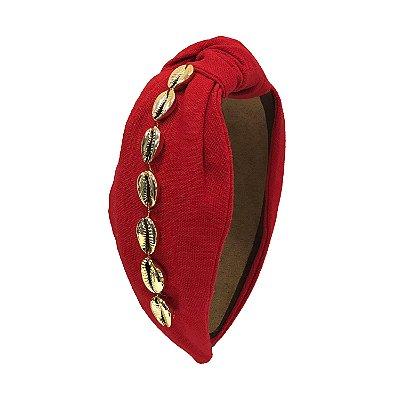 Turbante de Linho Vermelho com Búzios