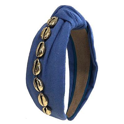 Turbante de Linho Azul Claro com Búzios
