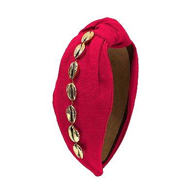 Turbante de Linho Pink com Búzios