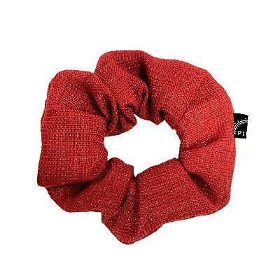 Elástico - Scrunchie de Tweed Vermelho