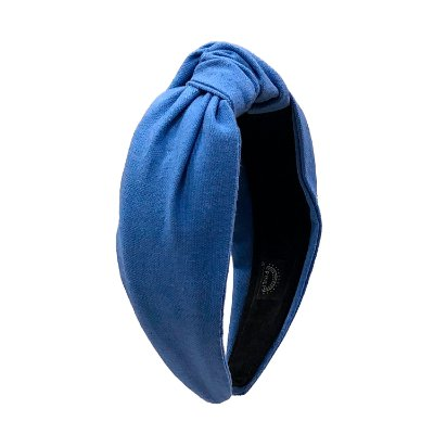 Turbante de Linho Liso Azul