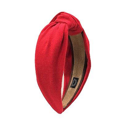 Turbante de Linho Liso Vermelho