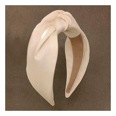 Turbante de Cetim Branco Pinli