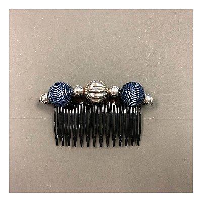 Pente de Cabelo de Bolinhas Azul e Prata (Unitário)
