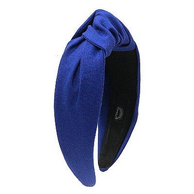 Turbante de Linho Liso Azul Royal