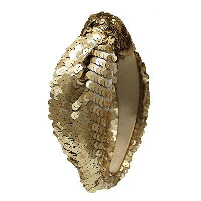 Turbante de Paetê Dourado