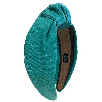 Turbante de Linho Liso Azul Turquesa