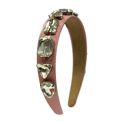Tiara Maxi Pedras de Brilho Rosa Claro