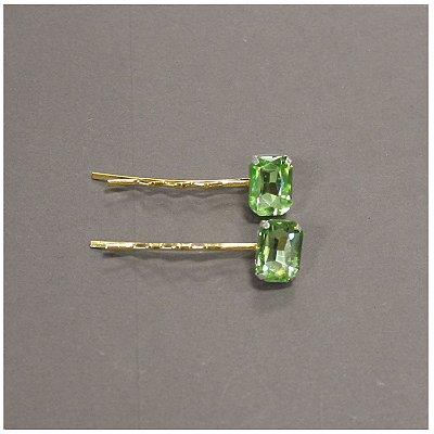 Dupla de Grampos de Cristal Verde Claro